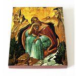 Илия Пророк с вороном, икона на доске 13*16,5 см - Иконы