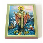 Святитель Николай Чудотворец с деяниями, печать на доске 13*16,5 см - Иконы