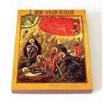 Огненное восхождение Пророка Божия Илии, XIX в, доска 13*16,5 см - Иконы