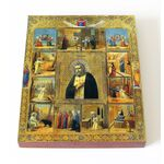 Преподобный Серафим Саровский с житием, икона на доске 13*16,5 см - Иконы
