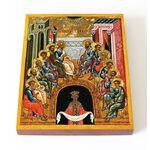 Сошествие Святаго Духа, Новгород, XV - XVI вв, икона на доске 13*16,5 см - Иконы