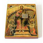 Спас на престоле с припадающими святыми, XVII в, доска 13*16,5 см - Иконы