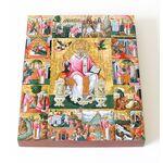 Святитель Спиридон Тримифунтский с житием, икона на доске 13*16,5 см - Иконы