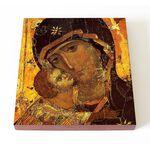 Владимирская икона Божией Матери, XII в, фрагмент, доска 14,5*16,5 см - Иконы