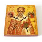 Никола с Илией Пророком и Георгием, XV - XVI вв, доска 14,5*16,5 см - Иконы