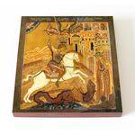 Чудо Георгия о змие, Русский Север, XVIII в, доска 14,5*16,5 см - Иконы