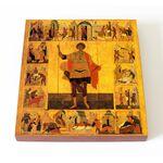 Великомученик Георгий Победоносец с житием, XVI в, доска 14,5*16,5 см - Иконы