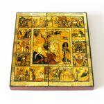Чудо Георгия о змие с житием, Русский Север, доска 14,5*16,5 см - Иконы