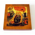 Огненное восхождение Илии Пророка, икона на доске 14,5*16,5 см - Иконы