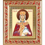 Мученица Людмила Чешская, икона в широкой рамке с узором 14,5*16,5 см - Иконы