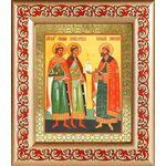 Благоверные князья Борис, Глеб и Роман, рамка с узором 14,5*16,5 см - Иконы