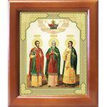 Мученики и исповедники Гурий, Самон и Авив, икона в рамке 12,5*14,5 см - Иконы