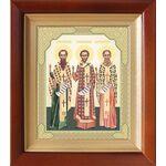 Собор трех святителей, икона в деревянном киоте 14,5*16,5 см - Иконы