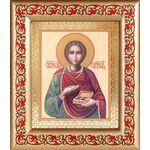 Великомученик и целитель Пантелеимон, икона в широкой рамке с узором - Иконы