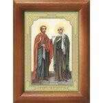 Мученики Адриан и Наталия Никомидийские, икона в рамке 7,5*10 см - Иконы