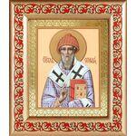 Святитель Спиридон Тримифунтский, широкая рамка с узором 14,5*16,5 см - Иконы