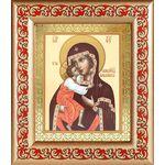Феодоровская икона Божией Матери, рамка с узором 14,5*16,5 см - Иконы