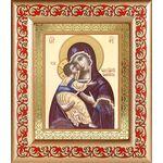 Владимирская икона Божией Матери, широкая рамка с узором 14,5*16,5 см - Иконы