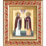 Благоверные князья Петр и Феврония Муромские, рамка с узором 14,5*16,5 - Иконы