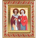 Священномученик Киприан и мученица Иустина, икона в рамке с узором - Иконы