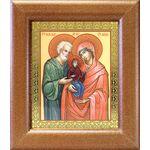 Праведные Иоаким и Анна, икона в широкой деревянной рамке 14,5*16,5 см - Иконы