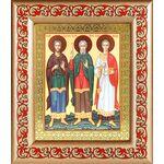 Мученики и исповедники Гурий, Самон и Авив, икона в рамке с узором - Иконы