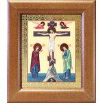Распятие с предстоящими, икона в широкой деревянной рамке 14,5*16,5 см - Иконы