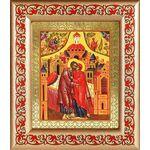 Зачатие Пресвятой Богородицы, икона в рамке с узором 14,5*16,5 см - Иконы