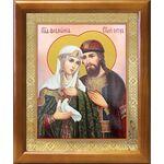 Благоверные князья Петр и Феврония с голубем, рамка 17,5*20,5 см - Иконы