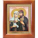 Благоверные Петр и Феврония Муромские с голубем, рамка 12,5*14,5 см - Иконы