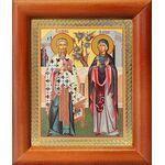 Священномученик Киприан и мученица Иустина, икона в рамке 8*9,5 см - Иконы