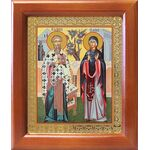 Священномученик Киприан и мученица Иустина, икона в рамке 12,5*14,5 см - Иконы