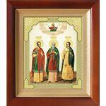 Мученики и исповедники Гурий, Самон и Авив, икона в киоте 14,5*16,5 см - Иконы