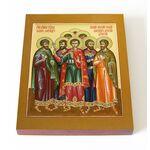 Мученик Агапий Газский и с ним семь мучеников, доска 13*16,5 см - Иконы