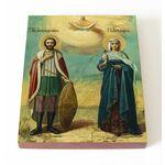 Александр Невский и царица Александра Римская, доска 13*16,5 см - Иконы