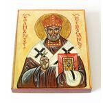 Святитель Амвросий Медиоланский, икона на доске 13*16,5 см - Иконы