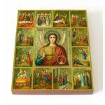 Архангел Михаил с чудесами, икона на доске 13х16,5 см - Иконы