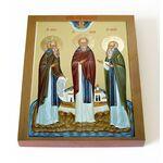 Преподобные Герман, Зосима и Савватий Соловецкие, доска 13*16,5 см - Иконы