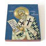 Святитель Кирилл Иерусалимский, икона на доске 13*16,5 см - Иконы