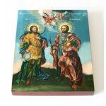 Мученики бессребреники Кир и Иоанн, икона на доске 13*16,5 см - Иконы