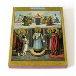 Покров Пресвятой Богородицы с сонмом святых, доска 13*16,5 см - Иконы