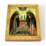 Преподобные Зосима и Савватий Соловецкие, икона на доске 13*16,5 см - Иконы