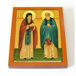 Преподобные Спиридон и Никодим Печерские, икона на доске 13*16,5 см - Иконы