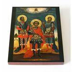 Святые мученики Трифон, Иулиан и Евстафий, икона на доске 13*16,5 см - Иконы