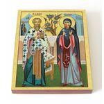 Священномученик Киприан и мученица Иустина, икона на доске 13*16,5 см - Иконы