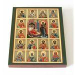 Собор святых целителей, икона на доске 13*16,5 см - Иконы
