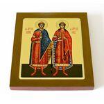 Благоверные князья Борис и Глеб, икона на доске 14,5*16,5 см - Иконы