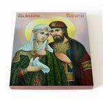 Благоверные Петр и Феврония с голубем, икона на доске 14,5*16,5 см - Иконы