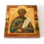 Пророк Елисей с избранными святыми на полях, доска 14,5*16,5 см - Иконы
