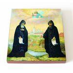 Преподобные Сергий и Герман, Валаамские чудотворцы, доска 14,5*16,5 см - Иконы
